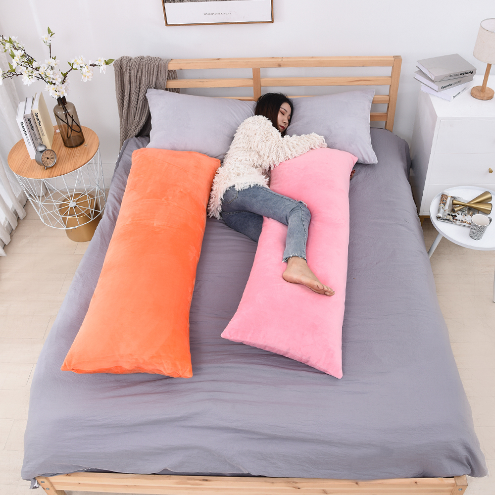 Superfine Plush Body Pillow Case Soft Nordic Plain Long Pillow Cover with Hidden Zipper Multicolor Available