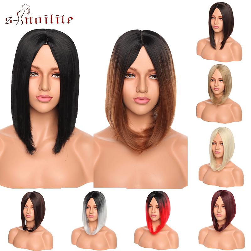 S-noilite Straight Synthetic Wigs Ombre Black Brown Red Grey Bob Wigs Heat Resistant Hair Wigs For Women Cosplay Party Wigs