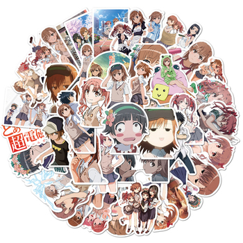 50Pcs Anime To Aru Kagaku No Rail Gun Sticker Cosplay Badge Misaka Mikoto Cartoon Tags Water Proof Paster image