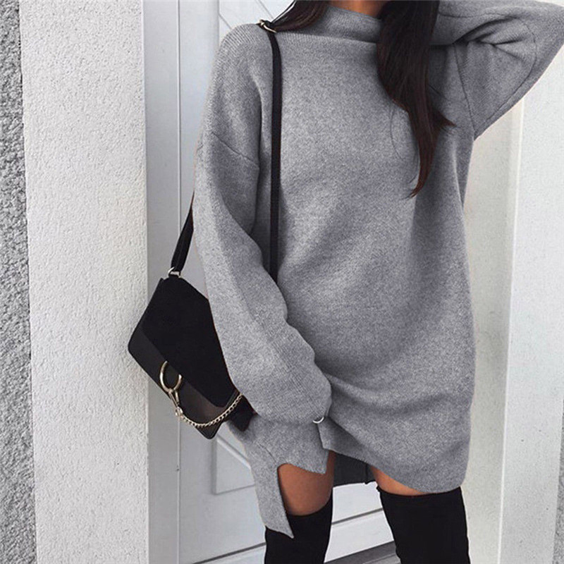 2019 Winter Sweater Dress Women Turtleneck Long Sleeve Jumper Dresses Solid Knitted Sweaters Pullover Loose Midi Dress