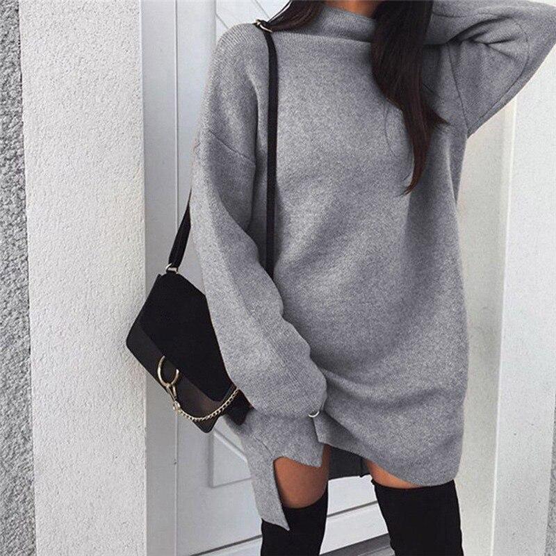 2019 Winter Sweater Dress Women Turtleneck Long Sleeve Jumper Dresses Solid Knitted Sweaters Pullover Loose Midi Dress