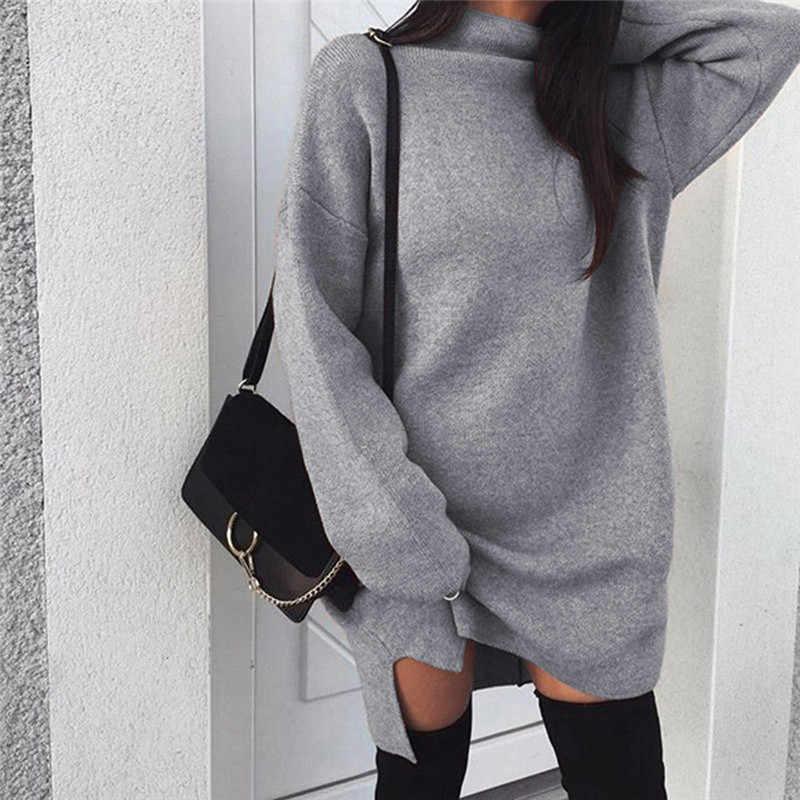 2019 겨울 스웨터 드레스 여성 터틀넥 긴 소매 점퍼 드레스 솔리드 니트 스웨터 풀오버 루즈 한 미디 드레스