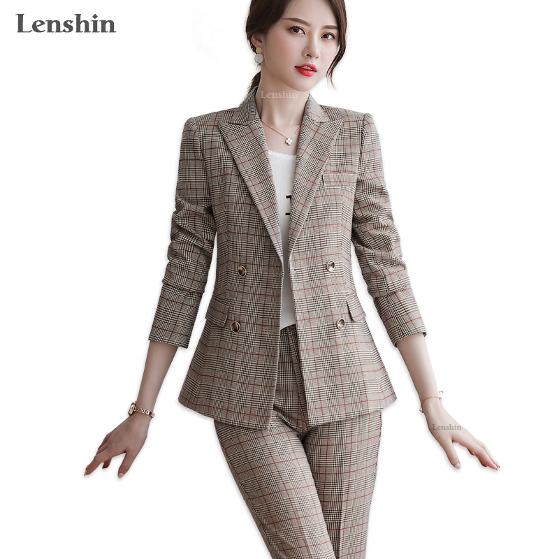 Lenshin High-quality 2 Piece Set Plaid Formal Pant Suit Blazer Office Lady Designs Women Soft Jacket And Ankle-Length Pant