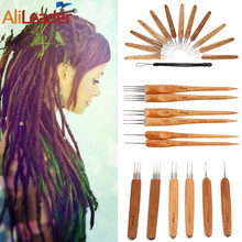 Alileader Bamboo Handle Crochet With Stainless Steel Needle One&Double&Triple Head Crochet For Making Wig Tip Handle Crochet(China)