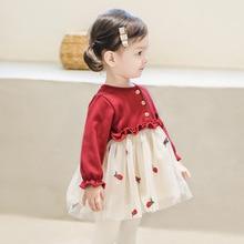 Красной клубничкой под индивидуальный заказ, платье с длинными рукавами и вышивкой; Детское платье до 3 лет для маленьких девочек; Сезон вес...