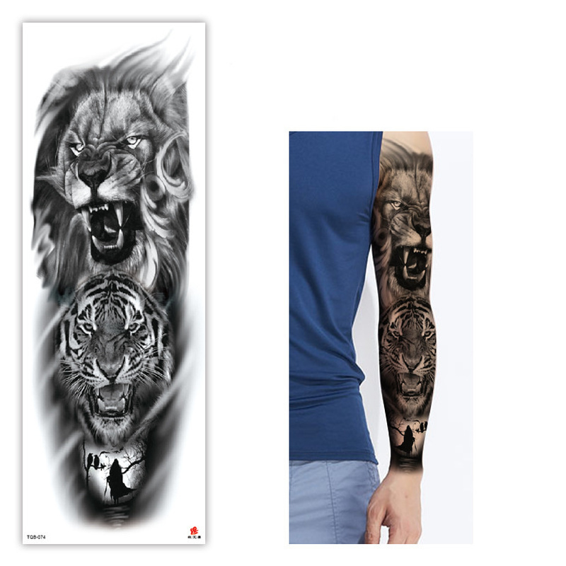 Large Arm Sleeve Tattoo Sketch Lion Tiger Waterproof Temporary Tatoo Sticker Wild Fierce Animal Men Women Bird Totem Tatto