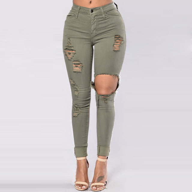 Hole Jeans Woman 2020 Stretch Denim Trousers High Waist Skinny Pencil Pants Slim Distressed Jeggings Femme Black Blue Army-Green 5