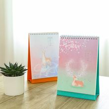 Vertical Elk Pattern Standing Paper 2020 Double Coil Calendar Memo Daily Schedule Table Planner Yearly Agenda Desk Organizer 2019 japanese anime one piece desk calendar diy table calendars daily schedule planner 2019 01 2019 12