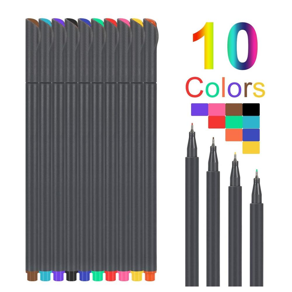 10pcs Fine Tip Color Liner Pen 0.38mm Fineliner Marker Writing Lettering Drawing Painting Highlighting Notebook DIY School F954