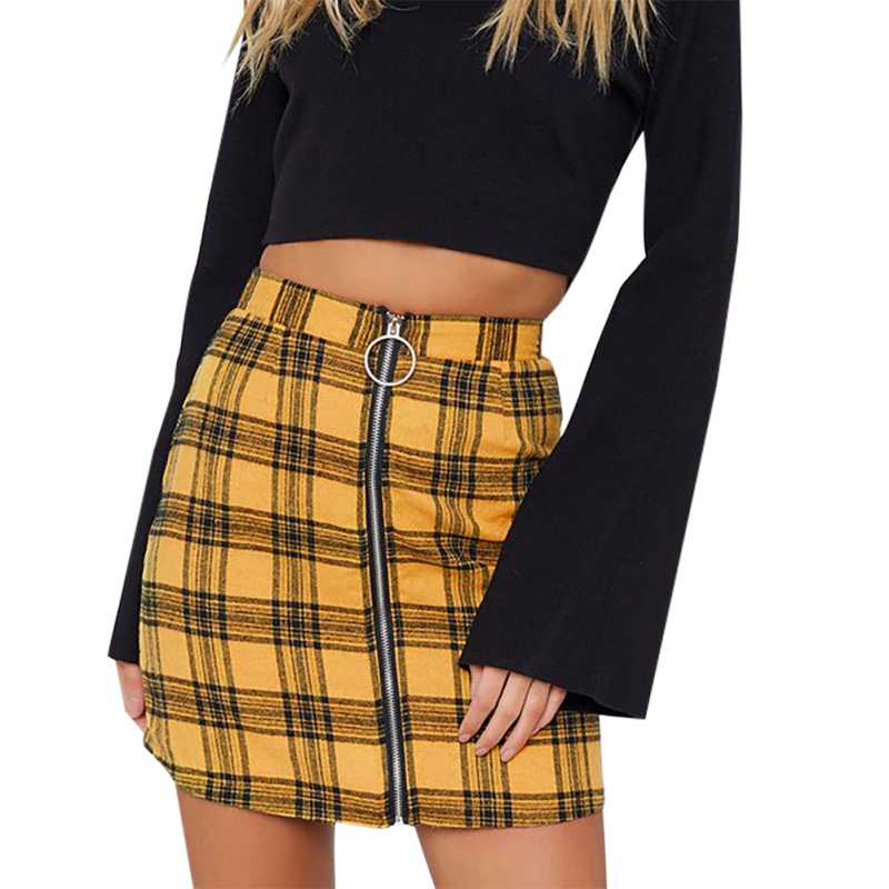Fashion Skirts Women Ladies High Waisted Zipper Pencil Sexy Skirt A-line Vintage Casual Plaid Skirt Bodycon Mini Skirt