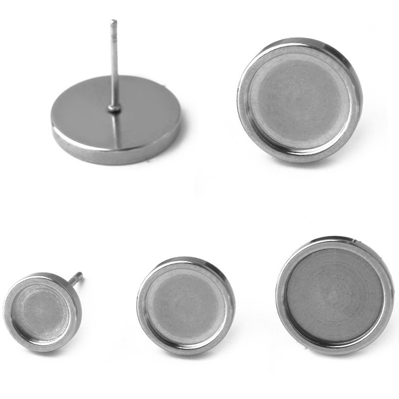 20pcs/lot Stainless Steel Jewelry Stud Earrings Blank Base For 6/8/10/12mm Everything For Handmade Women's Popular Accessories