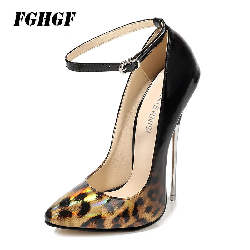 16cm super high heel super fine with metal with pointed <font><b>sexy</b></font> <font><b>shoes</b></font> <font><b>large</b></font> <font><b>size</b></font> female tip mouth color matching buckle Model image
