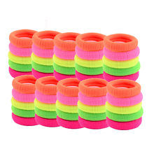 50Pcs Women Girls Hair Band Rainbow colors Ties Rope Ring Elastic Ponytail Holder New Cute Grosgrain Hair Accessorie Hair Clasps(China)