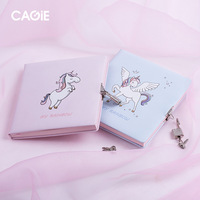 1PCS Unicorn Password Notebook with Lock Office School Notepad Personal Diary PU skin High quality paper Journal Stationery Gift