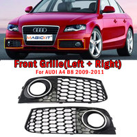 MagicKit 1Pair Car A4 Fog Light Cover Grille Grill Honeycomb Mesh Fog Light Lamp Open Vent Grille For Audi A4 B8 RS4 Style 09 11