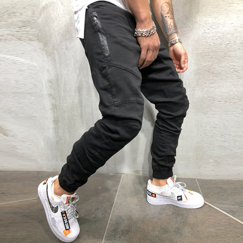 Pencil Pants Joggers Sweatpants Mens Hip Hop Solid Slim Trousers Autumn Winter Male Casual Fashion Streetwear Cotton Trackpants