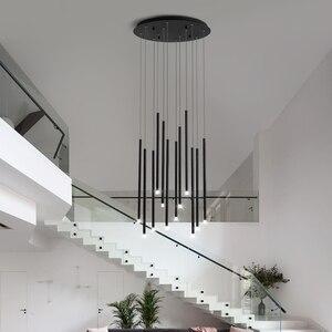Image 3 - Moderne Einfache LED Kronleuchter Schwarz oder Gold 24W 36W Beleuchtung Hängen Leuchten Für Duplex Rotierenden Treppe Wohnzimmer lampen