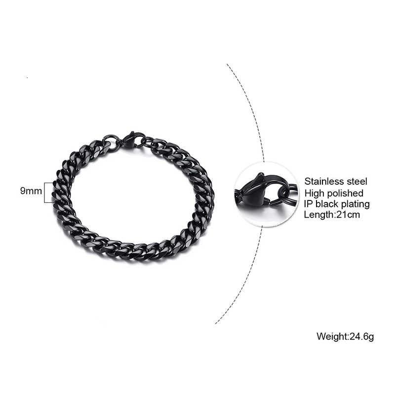 Solidny metalowy łańcuszek ze stali nierdzewnej łańcuchy bransoletka dla mężczyzn płaski kubański Link czarny srebrny złoty Tone Boyfrien 3mm-11mm