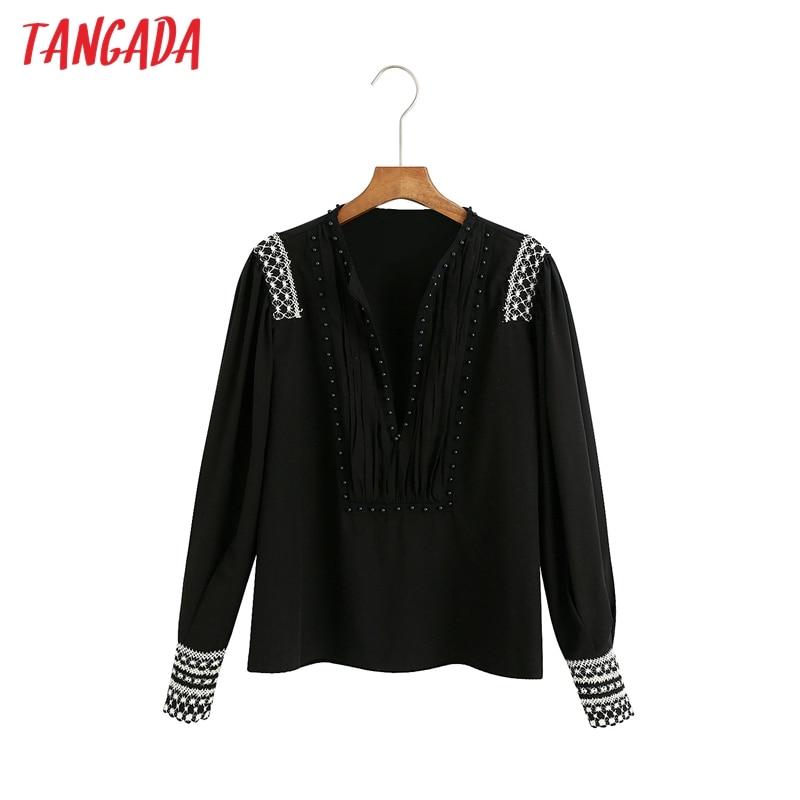 Tangada-camisa negra bordada con cuentas para mujer, blusa informal con cuello en V, 6Z77, 2020