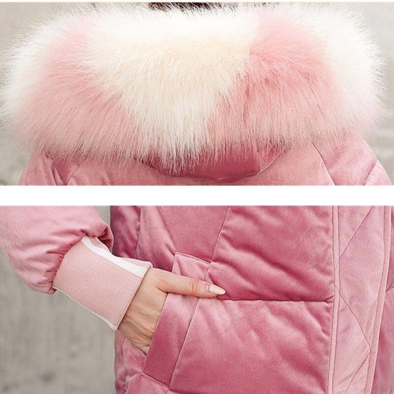 2019 nueva Parkas de invierno para mujer, Chaqueta de algodón de terciopelo dorado, abrigo de invierno con capucha y Cuello de piel para mujer, talla grande g586 - 6