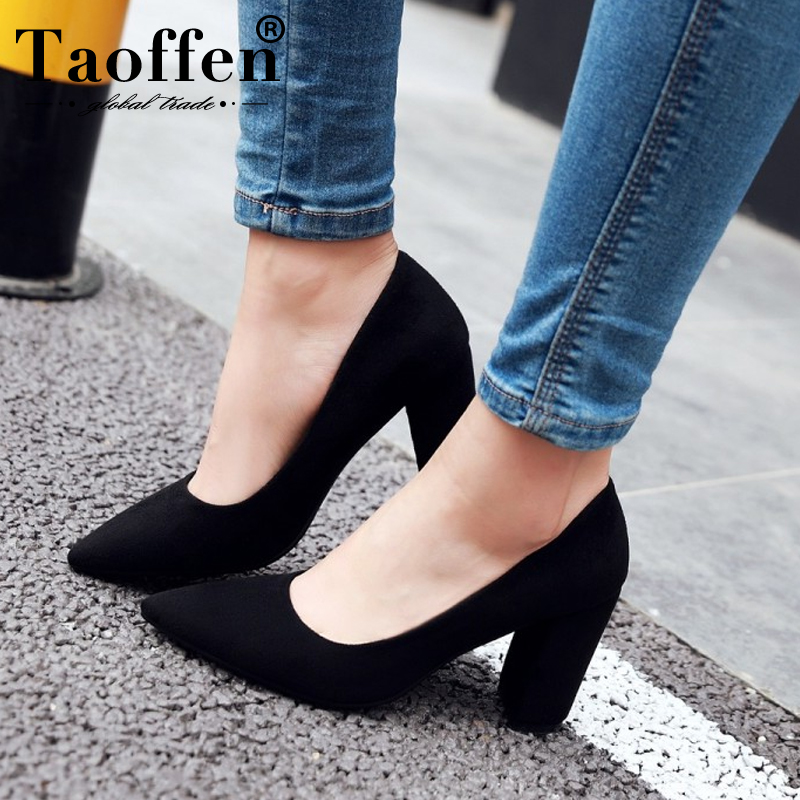 Taoffen 6 Color Pumps Woman Spring Pointed Toe Party Slip On Wedding Shoes Women High Heel Office Pumps Footwear Size 33-43