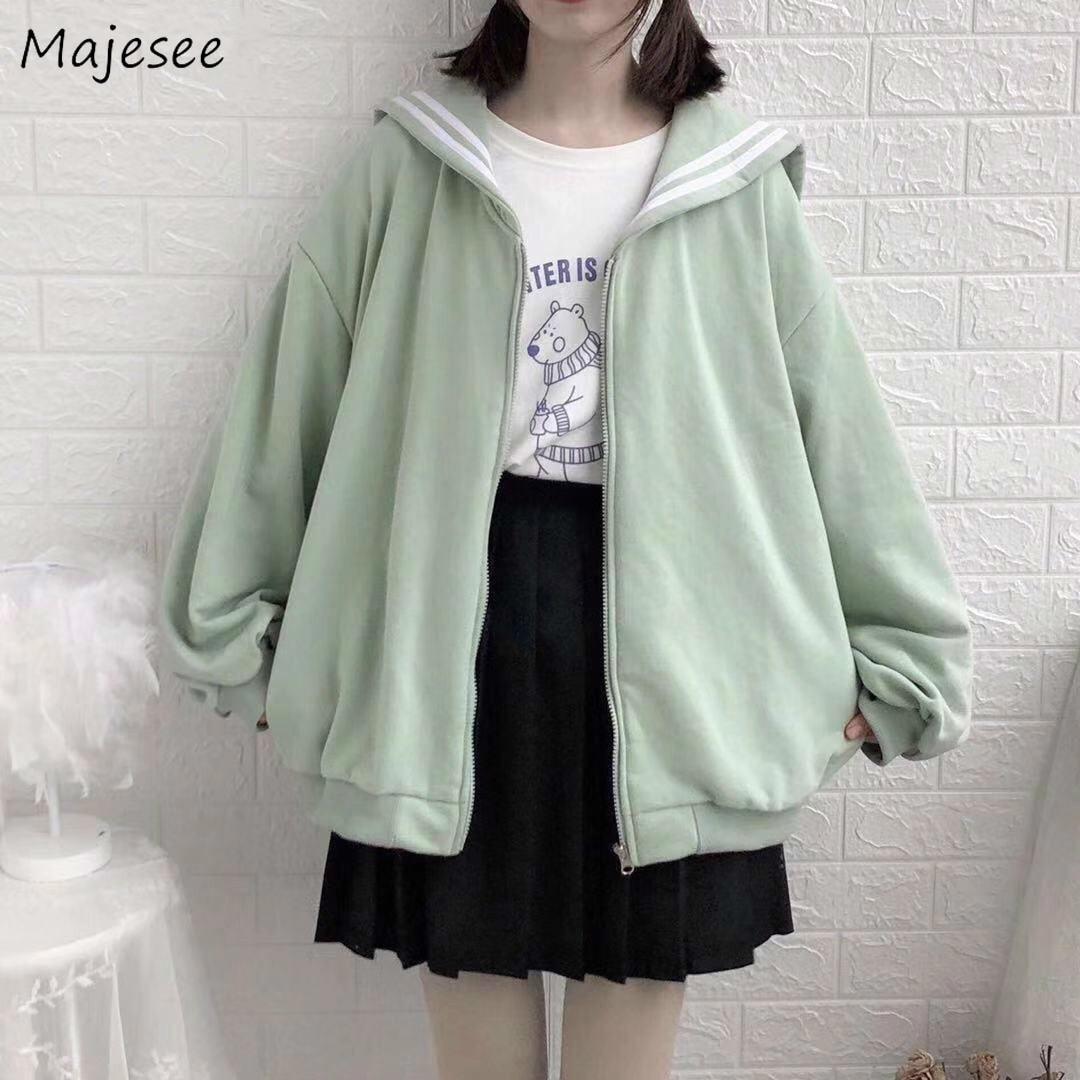 Hoodies Women Sweatshirt Plus Size Kawaii Casual Loose Oversized Hoodie Womens Clothing Korean Fashion Sailor Collar Harajuku