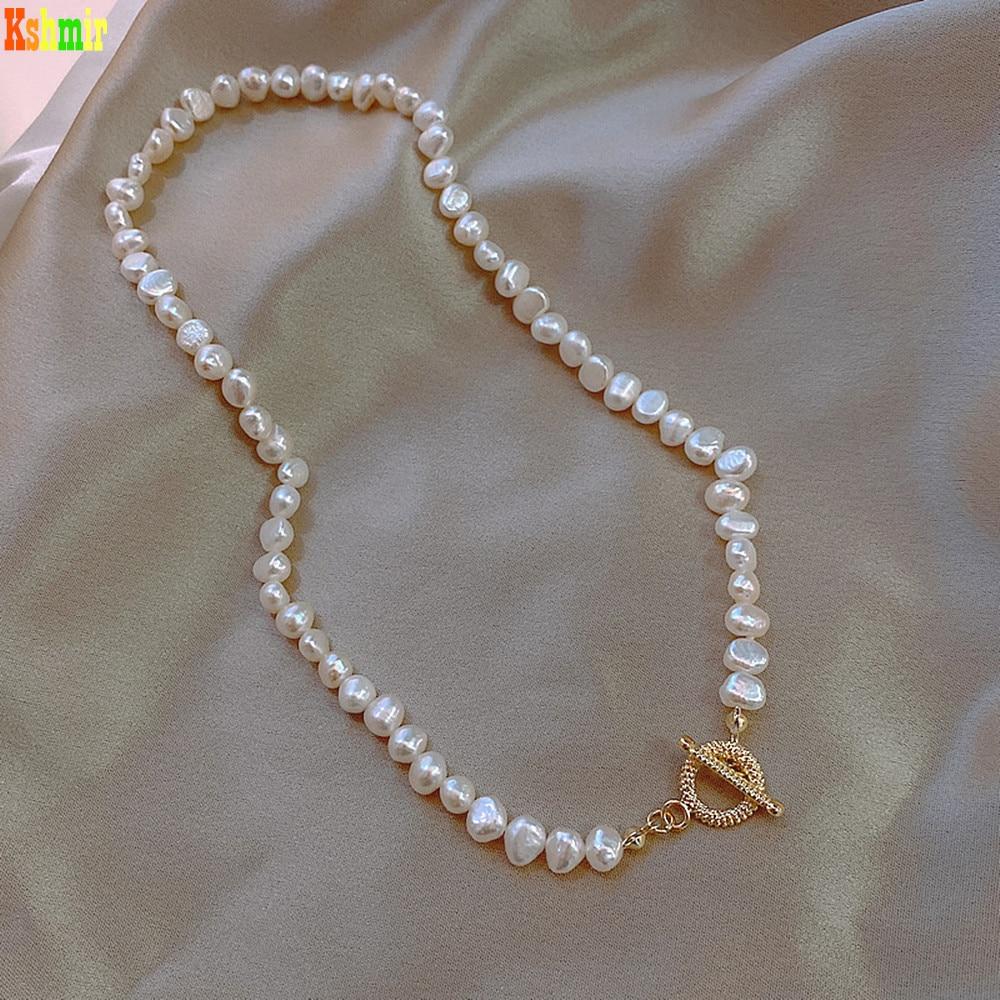 Kshmir French High-grade Baroque Freshwater Pearl Necklace Retro Temperament OT Clasp Necklaces Hand Accessories Women Punk 40cm