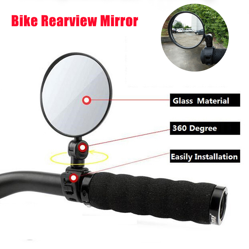 7.8cm Wide-angle Convex Mirror Bicycle Mirror Mountain Bike Rearview Mirror Silicone Handle Rearview Mirror Large Reflector