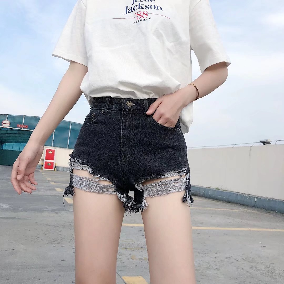 2019 Summer Fashion New Style High-waisted Female Jeans Shorts Wide-Leg With Holes Korean-style Women's Loose-Fit Slimming Denim