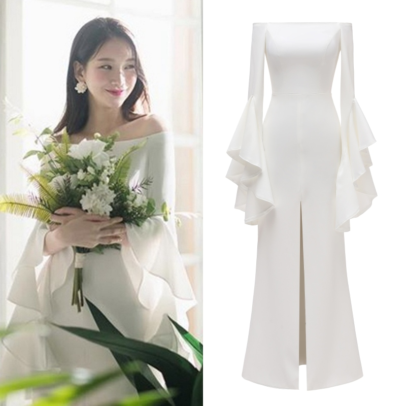 Soft Satin Simple Long Sleeve Bridal Gown Bride Wedding Dress Korean Tea-length Wedding Party Evening Dress Real Photo