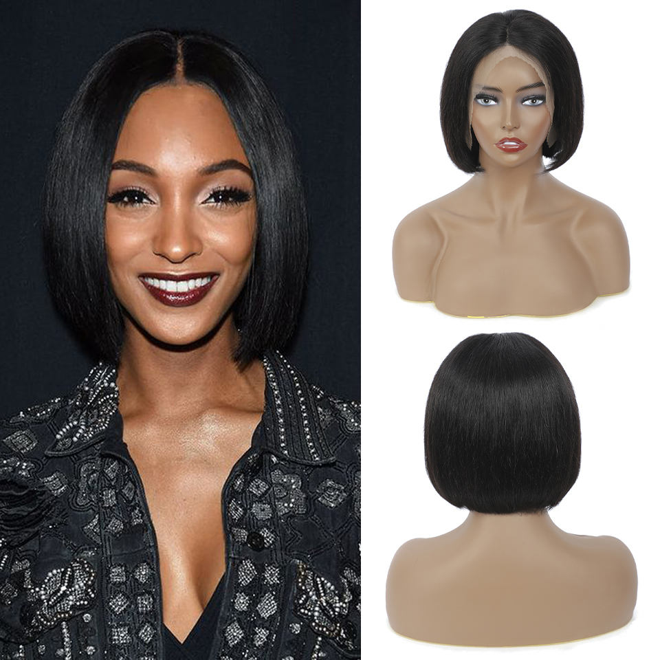 Bob Wig Lace Wig Short  Wigs  Short Wig  Straight Hair For Black Wome 4x4 Closure Natural Color  4
