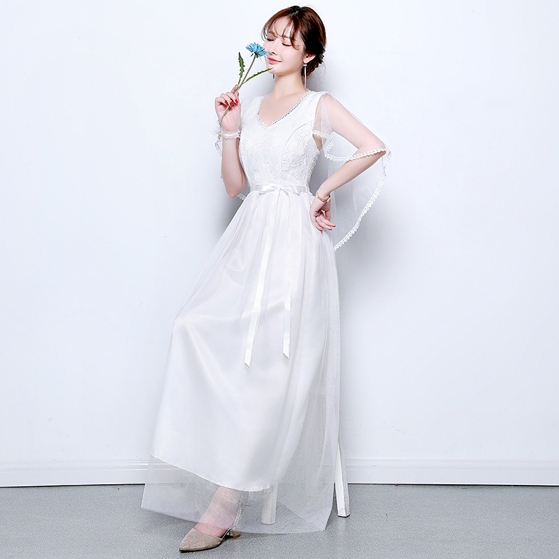 V-neck Tulle Long Dress For Wedding Party For Woman Vestido Azul Marino White Bridesmaid Dress A-Line Sexy Prom Dress Simple