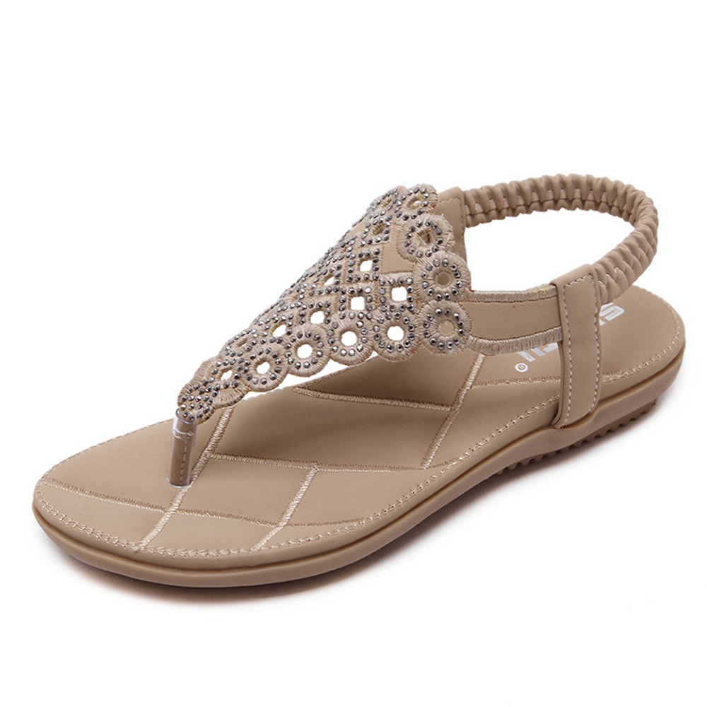 Strong Zinc Hour Shangbosimiya Sandals Flower Water Drill Large Size Flat Shoes Ladie Flipflop Rinestone Thongs Shoes in Middle Heels from Shoes