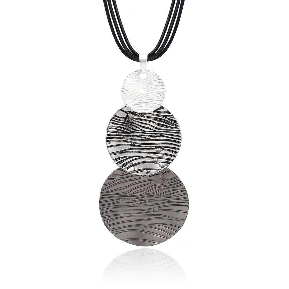 Nuevo collar de mujer con colgante redondo cepillado collar ajustable collares de cuerda de cuero para la joyería del encanto del partido