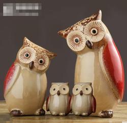 Artesanato Em cerâmica Moderna Estátua Enfeites de Sala de estar de Animais Coruja Corujas Artesanato Decoração Da Casa Brinquedo Figura 4 Estilo Opcional