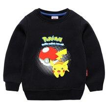 2-10Y Fashion Lovely Pokemon Hoodie Kids Anime Pika Logo Print Boys Hoodies Pikachu Girls Sweatshirts Baby Jumpers Top
