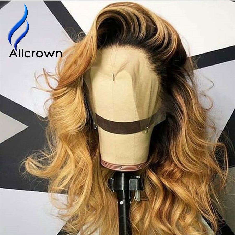 ALICROWN Ombre Lace Front Human Hair Wigs Brazilian Remy Hair 13*4 Lace Wigs 1b/27 Pre-Plucked Wigs With Baby Hair