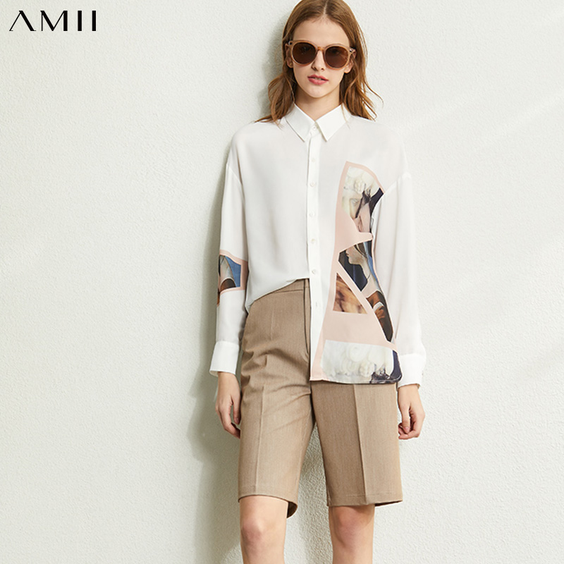 Amii Vintage Printed Shirt Spring Female Chiffon Lapel Slim Fit Long Sleeve Women Blouse Tops 12070122