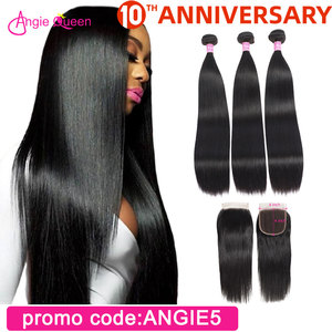 Straight Hair Bundles with Closure Peruvian Hair Bundles with lace Closure 3 bundles with closure straight sewing 18 20 22 24 26