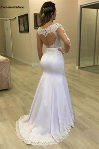 Image 3 - Elegant Arabic Mermaid Wedding Dresses Long Sleeves Illusion Buttons Back Lace Appliques Bridal Gowns Robe De Mariee