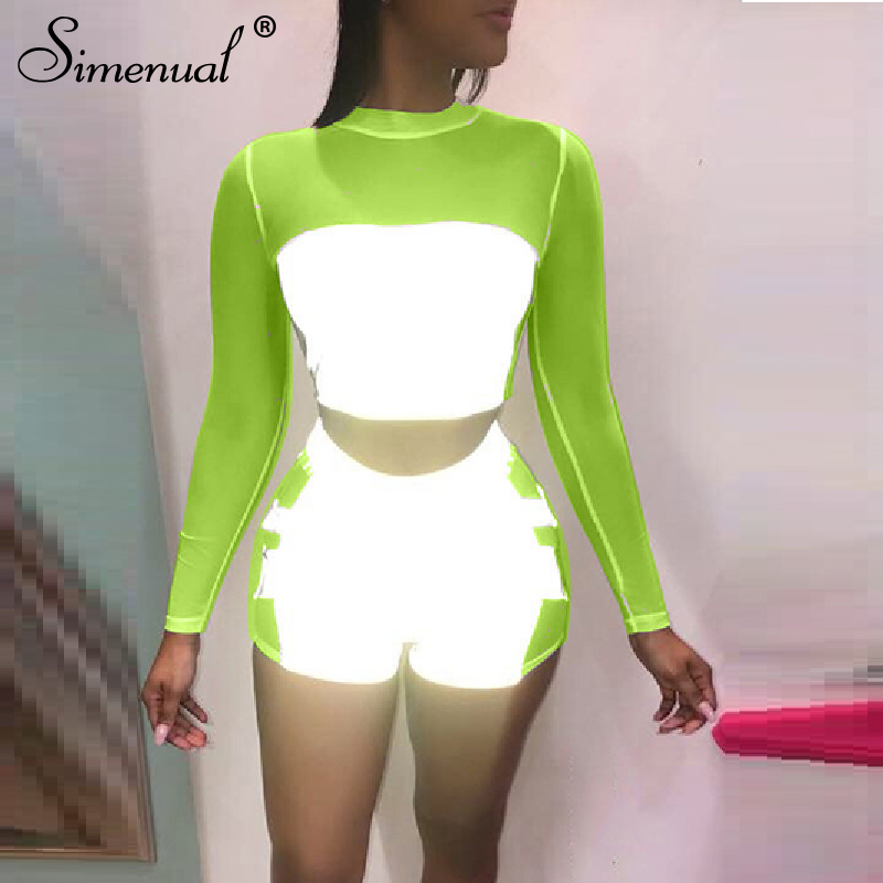 Simenual Reflective Mesh Patchwork 2 Piece Outfits Women Sexy Neon Transparent Matching Set Long Sleeve Crop Top And Shorts Sets