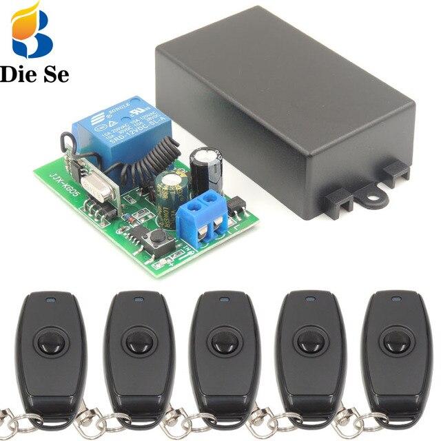 DieSe أحدث 1 زر العالمي لاسلكي للتحكم عن بعد و 433 ميجا هرتز التيار المتناوب 85 ~ 220 فولت 1CH التتابع وحدة الاستقبال ل LED و ضوء مصباح