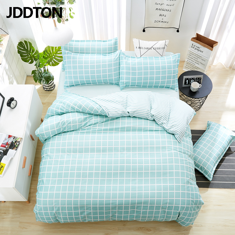 JDDTON Home Textile New Fresh Mint Green Plaid Bedding Sets Bed Linen Duvet Cover Set AB Side Bed Sheet Pillowcase Cover BE088