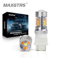 2x T25 3157 3156 P27/7W çift renk tipi beyaz Amber sarı Switchback LED 3030 28smd LED DRL dönüş sinyali park lambası ampuller
