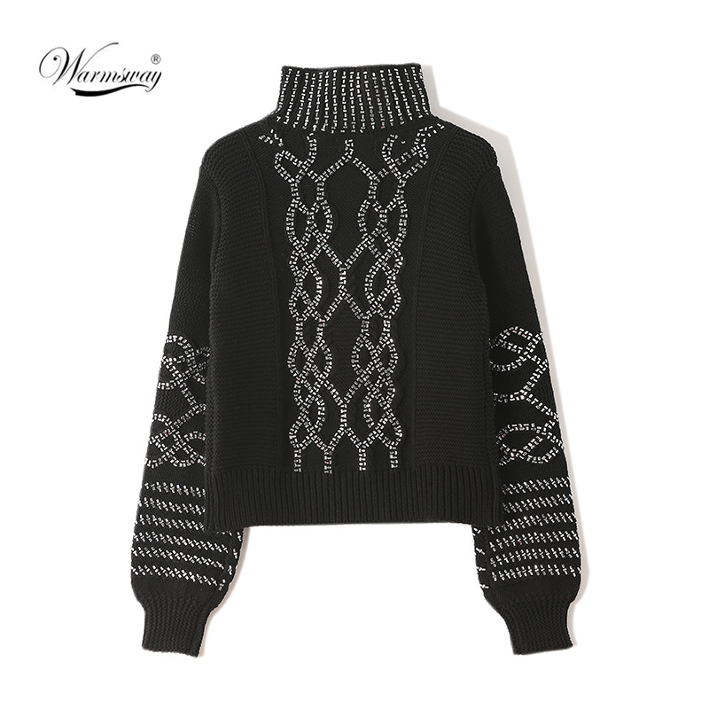 Luxury BlingBling Crystal Beading Women Sweater 2020 Fashion High Quality Turtleneck Thick Warm Twist Sweater Knitwear CY-082