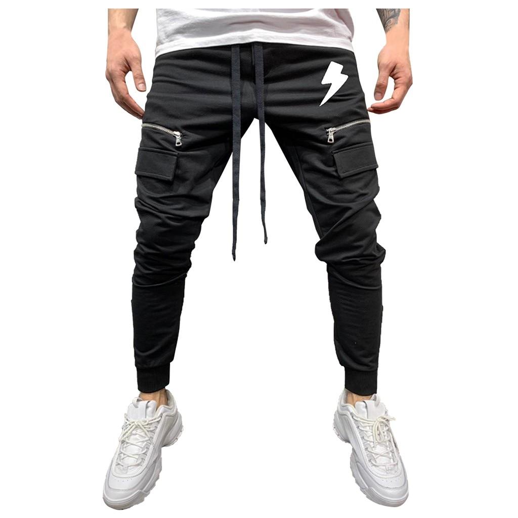 Men Cotton Pant Men Zipper Pure Color Overalls Casual Pocket Sport Work Casual Trouser Pants High Quality Men Pants Pantalon