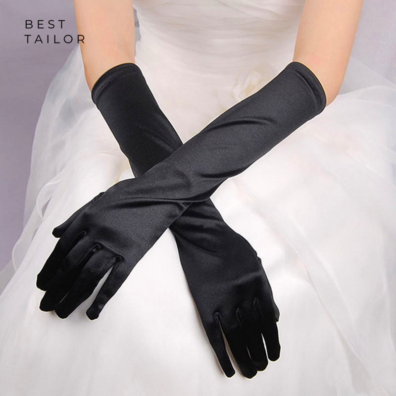 Long Wedding Bridal Hand Gloves Finger Elbow Black White Satin Cuffs Simple Special Occasion Accessories Mariage Gant Femme