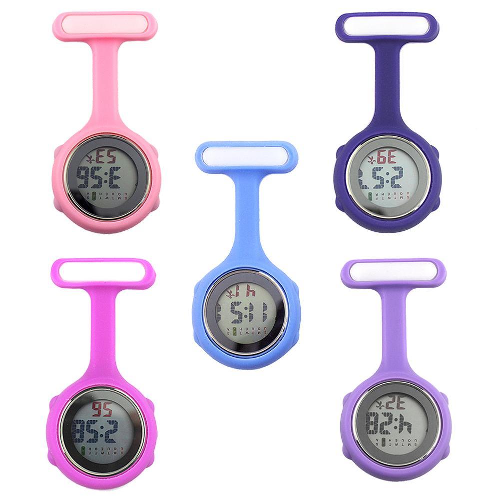 1Pc Waterproof Digital Watch Nurse Watch Silicone Fob Watch Nurse Brooch Pin Hang Pocket Electric Watch Pocket Watch With Clip