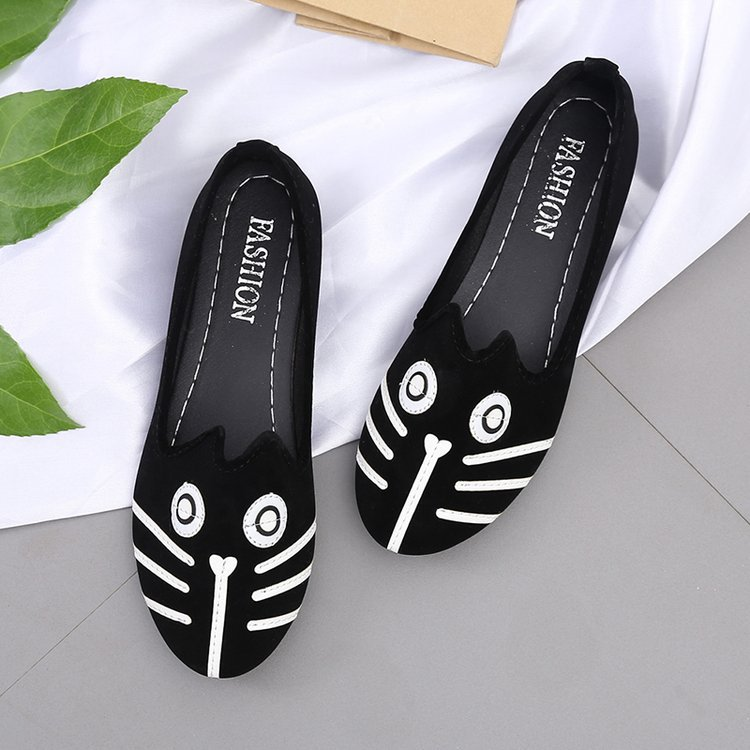 Women shoes cat dog face shallow round-toe flats low heels