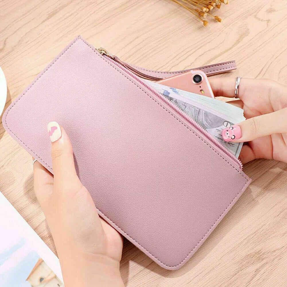 Kadın cüzdan kartı ve nakit tutucu organizatör küçük fermuar uzun cüzdan cep telefonu çantası